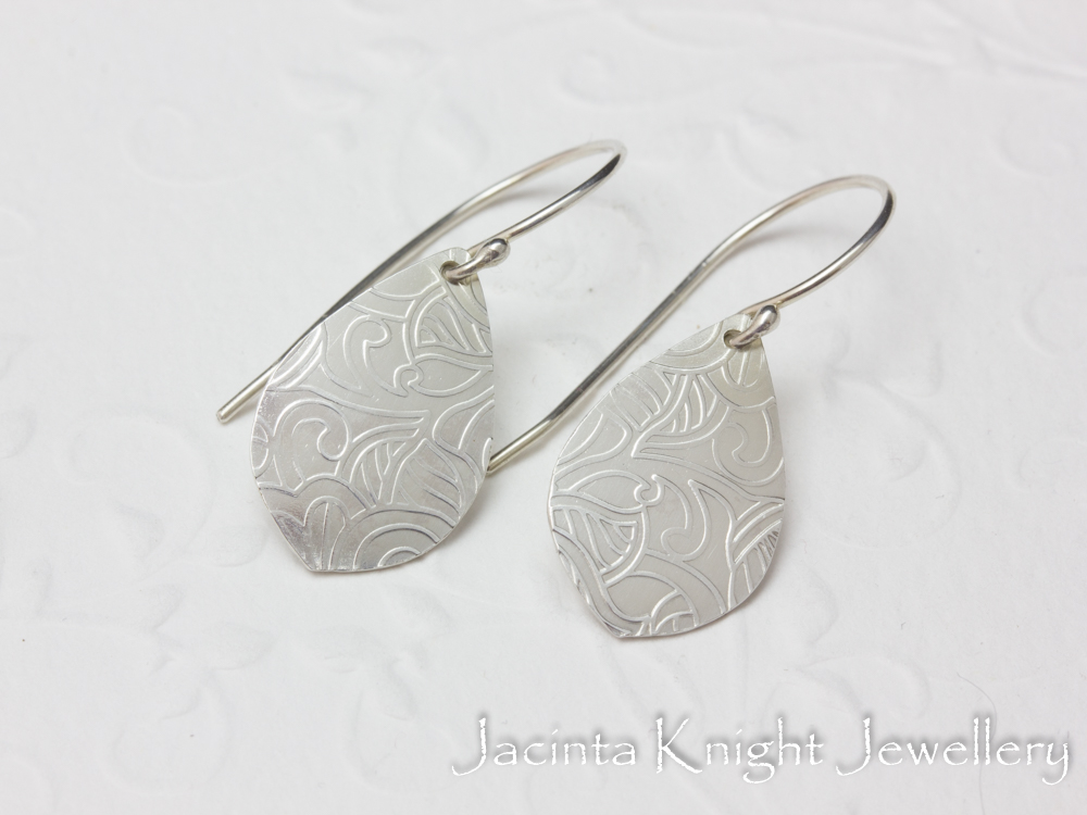 Argentium sterling silver textured earrings.