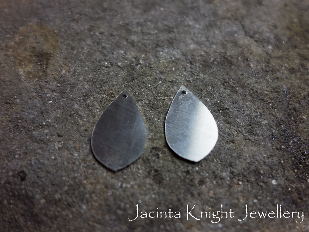 Making textured earrings - the annealed shapes ready to be textured.