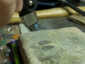 Making textured earrings - annealing before texturing.